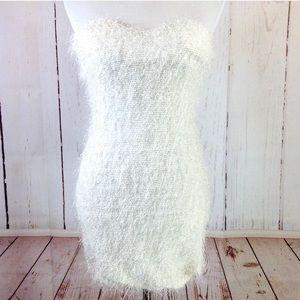 NWOT White Eyelash Strapless Sweetheart Dress